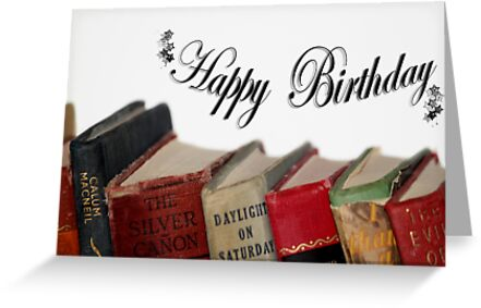 Happy Birthday Older Card Old Fashioned Books Greeting Cards By
