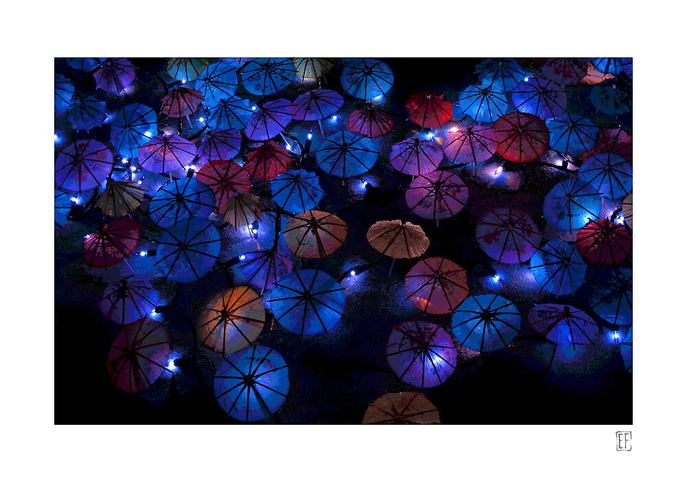 Blue String Lights and Drink Umbrellas by Ellen Fisher