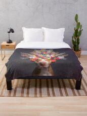 Pit Bull Flower Power, Frida Throw Blanket