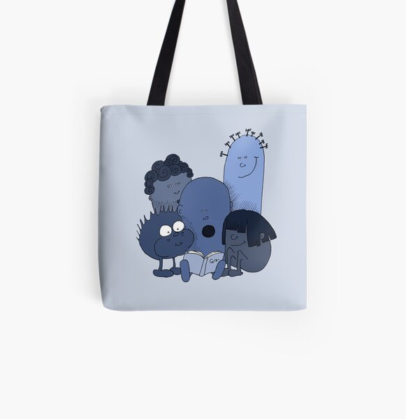 Blue beans reading All Over Print Tote Bag