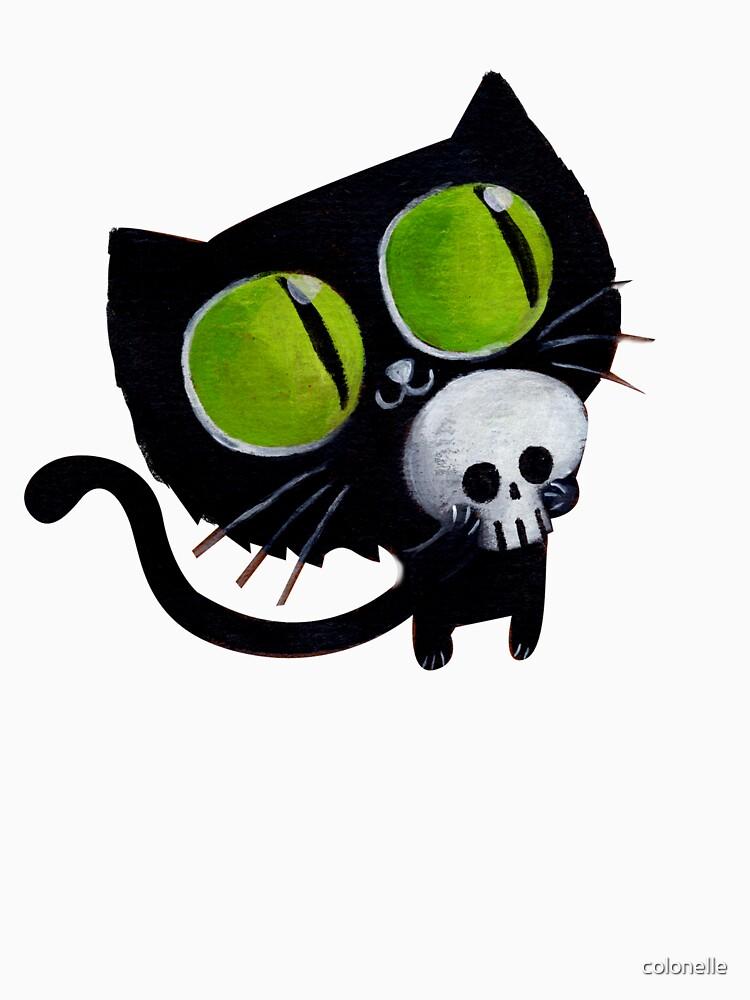 Black Halloween Cat with Skull von colonelle