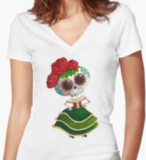 Mexican Skeleton Girl Women's Fitted V-Neck T-Shirt