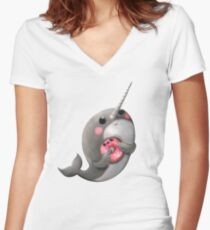 Cute Narwhal with donut Women's Fitted V-Neck T-Shirt