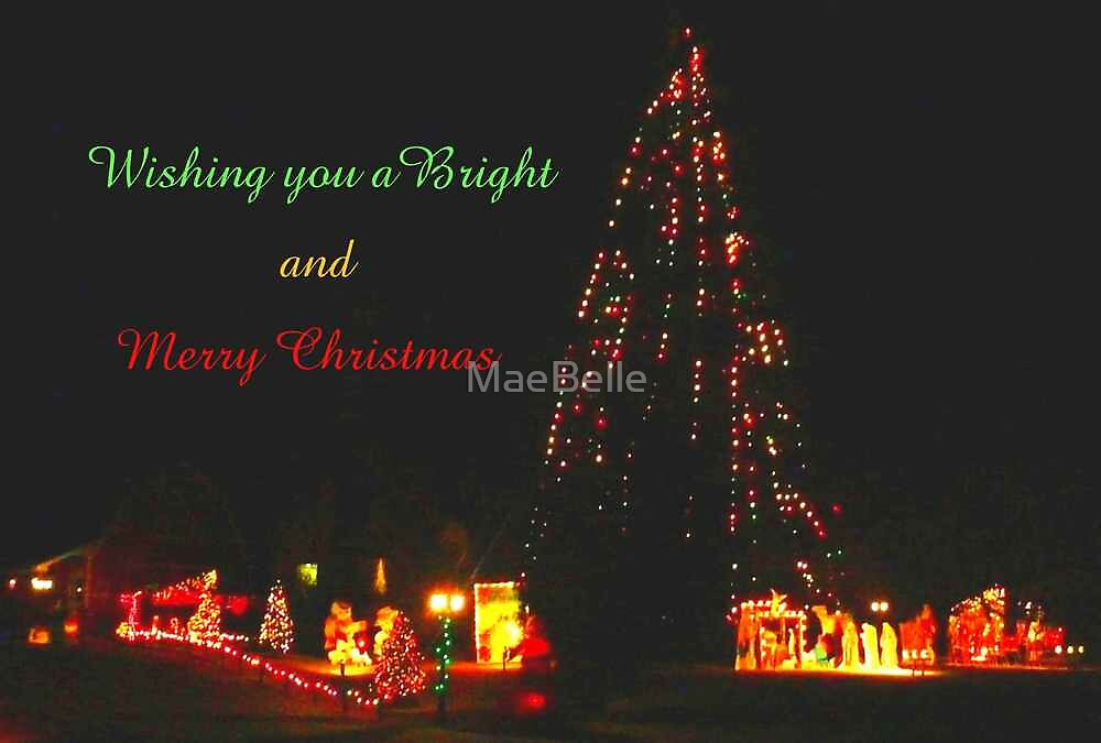 Lighted Christmas Tree and Yard..card by MaeBelle