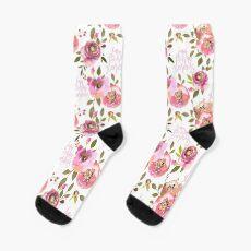 Ich bin verdammt herrlich - pink floral Socken