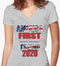 AMERICA FIRST Trump 2020 Fitted V-Neck T-Shirt