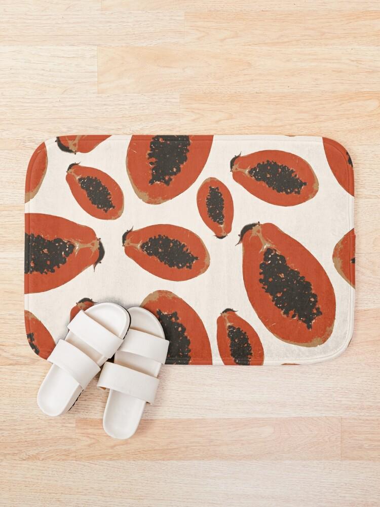 Alternative Ansicht von Papaya Frucht Design Pattern Badematte