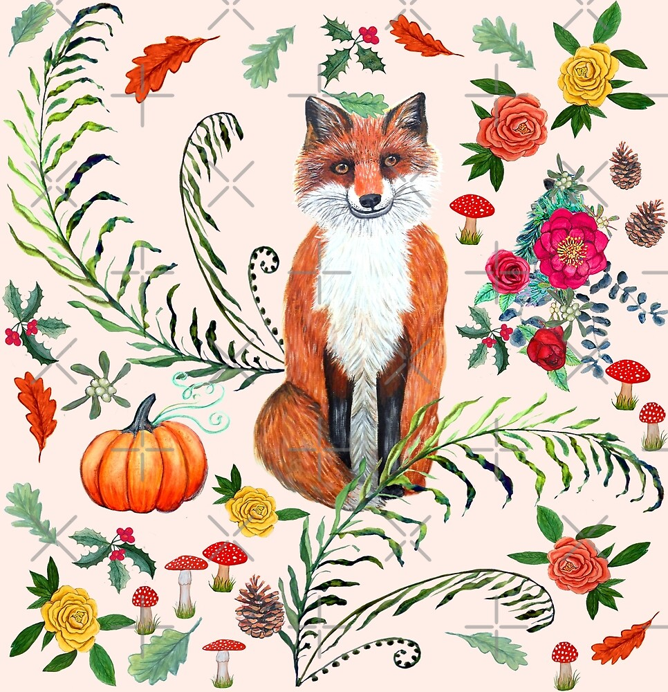 Winter fox with Poinsettia, holly, red mushrooms, pine cones and autumn leaves by MagentaRose