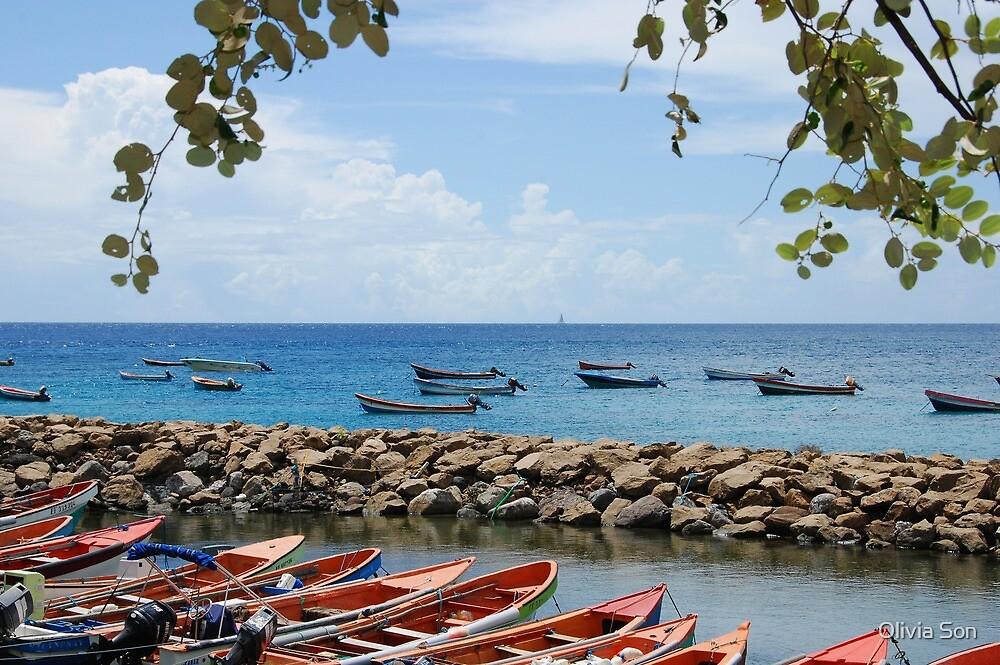 Fishermen Boats & Sea Wall - Martinique, F.W.I. by Olivia Son