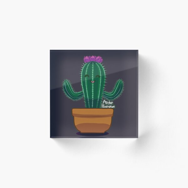Happy Little Cactus Potted Succulent Acrylic Block
