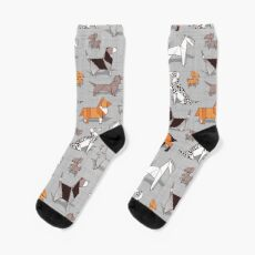 Origami doggie friends // grey linen texture background Socks
