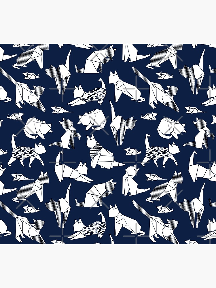 Origami kitten friends // blue navy background paper cats by SelmaCardoso