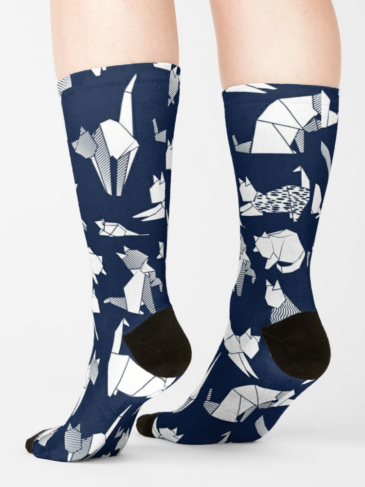 Alternate view of Origami kitten friends // blue navy background paper cats Socks