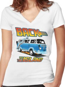 Back to the Island Lost And Back to the Future Spoof Women's Fitted V-Neck T-Shirt
