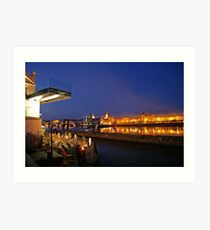 Prague seen from across the river during night Art Print