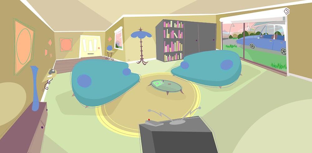 The living room '50s cartoon style by SenPowell