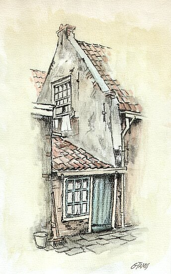 OLD DUTCH PICTURE - AQUAREL AND CONTE by RainbowArt