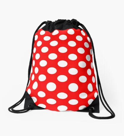 White on Red Polka Dots Drawstring Bag