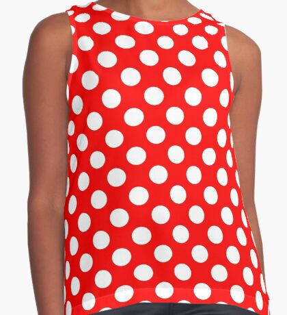 White on Red Polka Dots Sleeveless Top