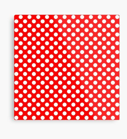 White on Red Polka Dots Metal Print