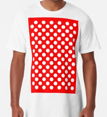 White on Red Polka Dots Long T-Shirt
