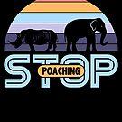 Stop Poaching Elephant Rhino Vintage Sunset von mjacobp