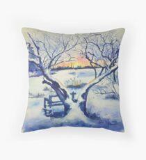 Winter-Magnolien-Sonnenaufgang Dekokissen