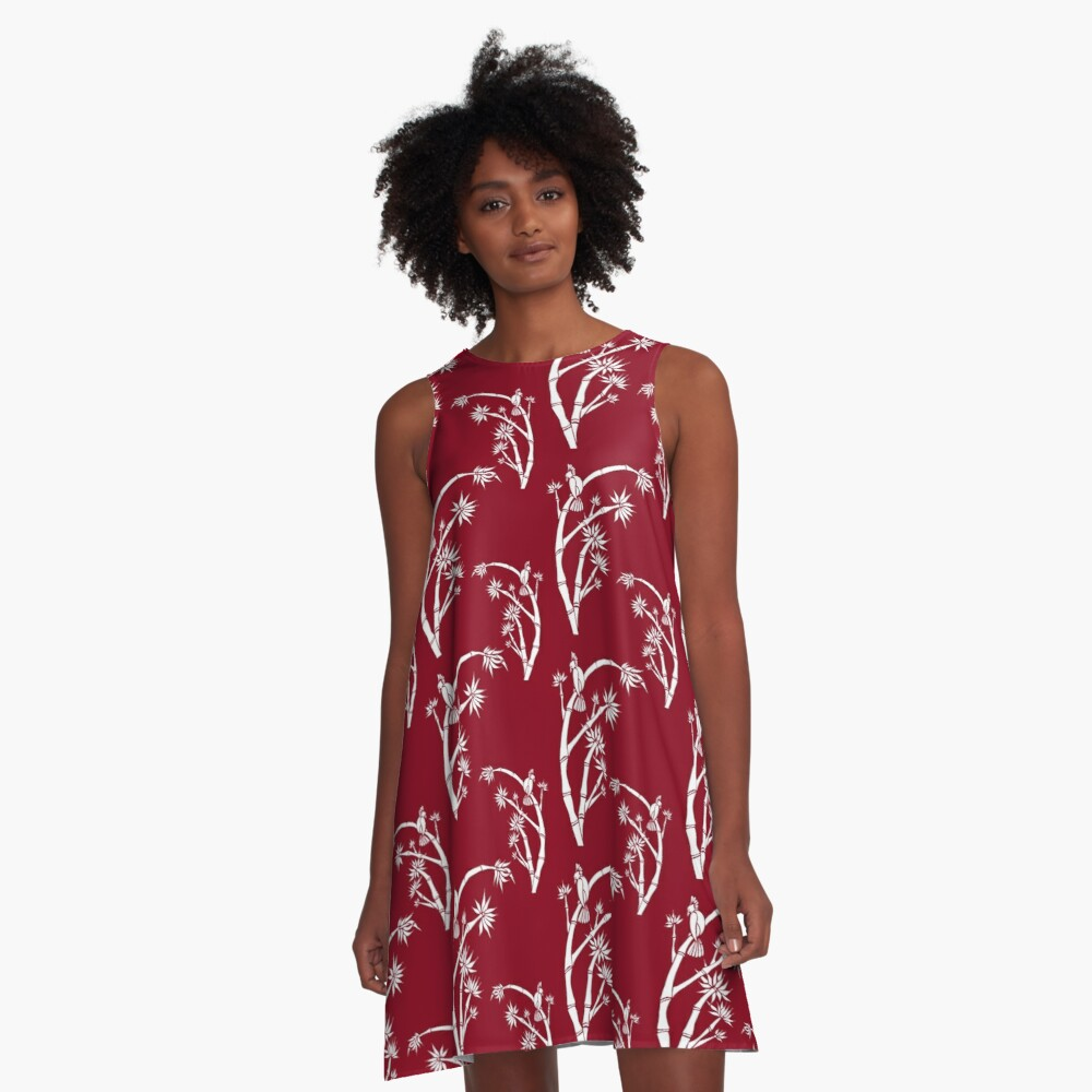 Oriental bamboo bird A-Line Dress