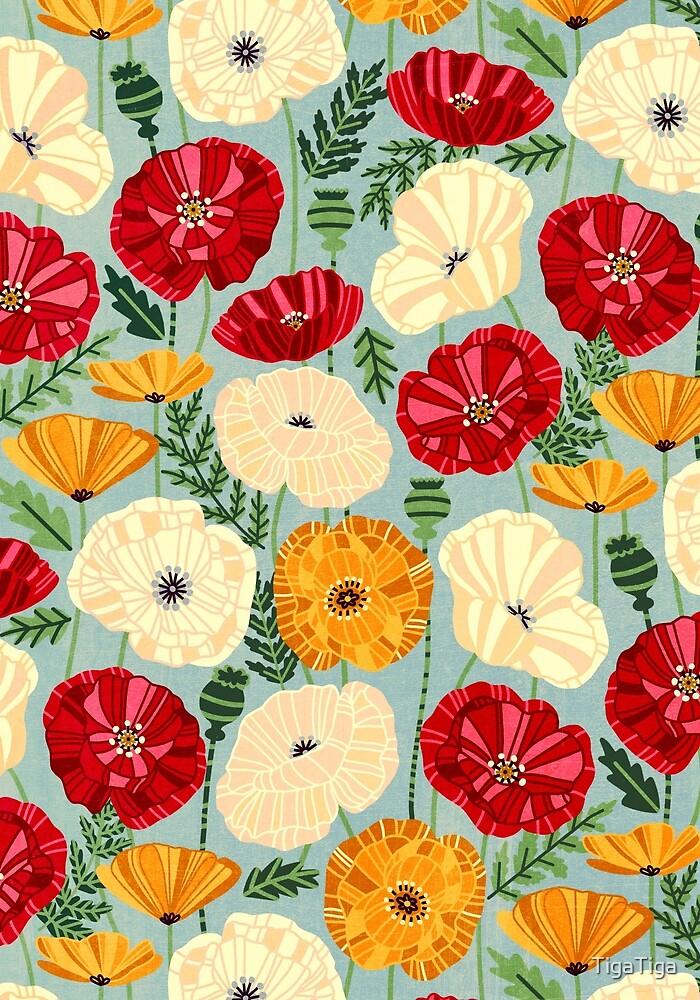 Textured Poppies  by TigaTiga