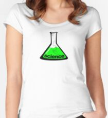 Science Beaker Green Women's Fitted Scoop T-Shirt
