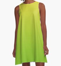 Yellow and Green Gradient Overlay A-Line Dress