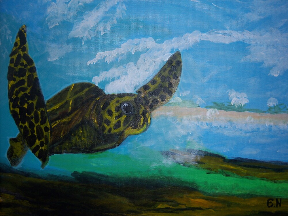 Turtle Wave Riding by Esther Nadeau