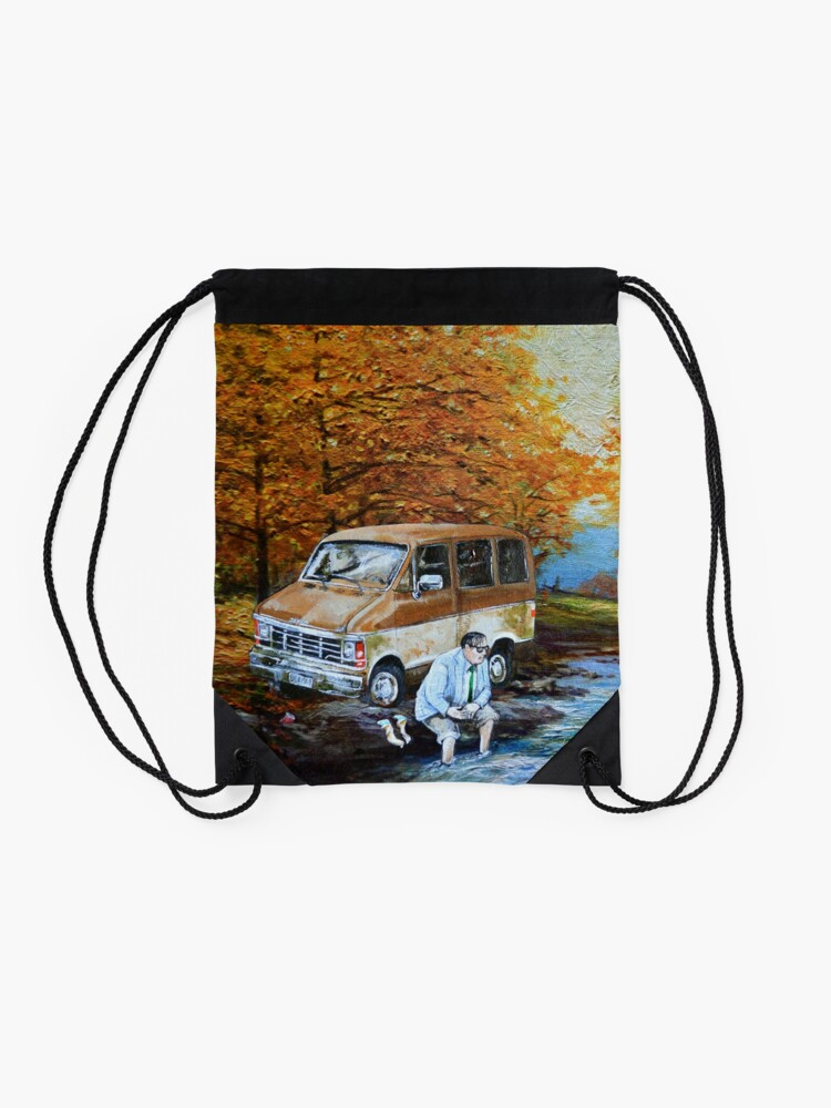 Alternate view of Living in a Van Down by the River Drawstring Bag