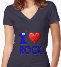 I LOVE ROCK Women's Fitted V-Neck T-Shirt