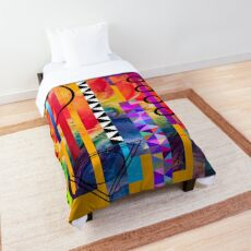 Abstract Modern Geometric Boho Bohemian Gypsy Tribal Colorful Collage Art Comforter