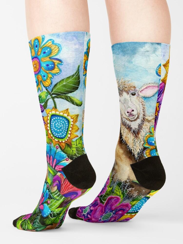 Alternate view of Sheep in the Summer Garden Socks