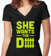 She Wants The D Fence Football Women's Fitted V-Neck T-Shirt