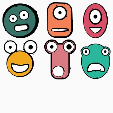 Funny monster characters faces by Ostapchuk