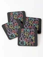 Be Merry and Bright Typography  Coasters