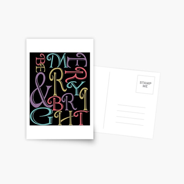 Be Merry and Bright Typography  Postcard