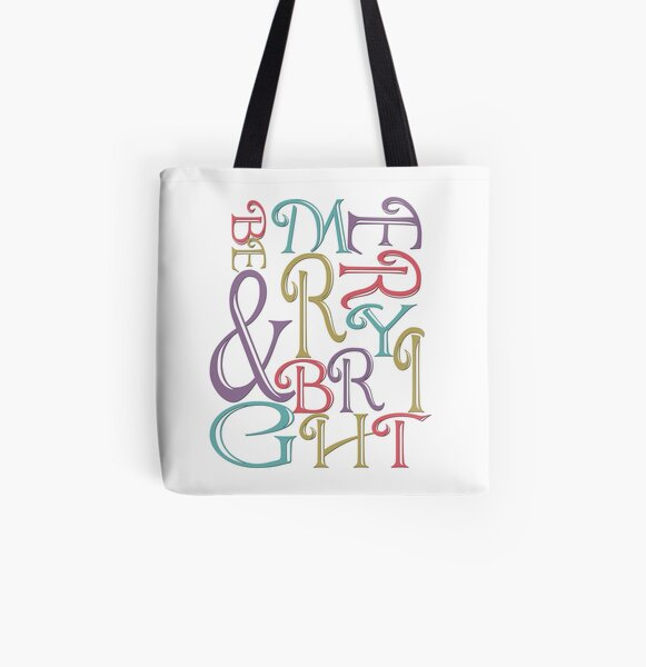 Be Merry and Bright Typography  All Over Print Tote Bag