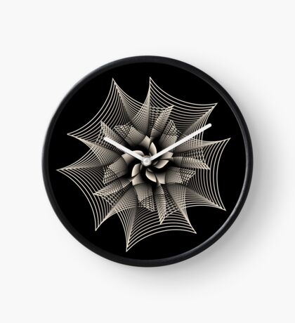 Abstract Monochrome Flower Clock