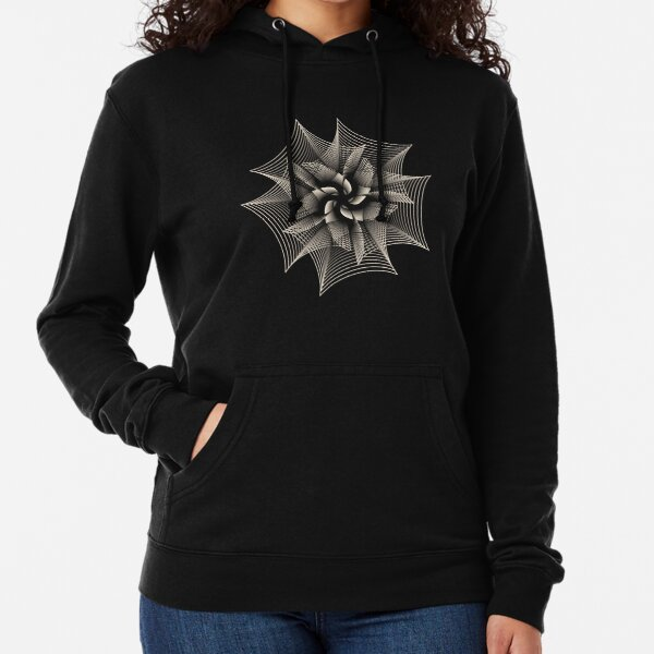 Abstract Monochrome Flower Lightweight Hoodie