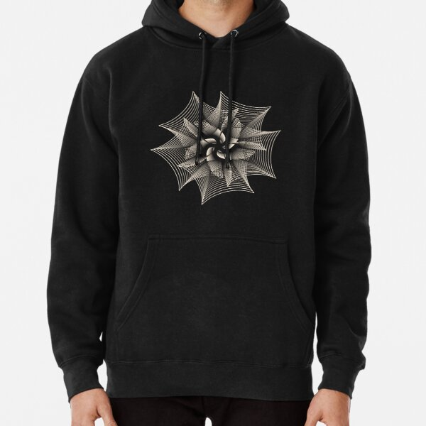 Abstract Monochrome Flower Pullover Hoodie