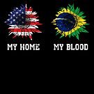 Cool My home my blood Brazil flag Sunflower von mjacobp