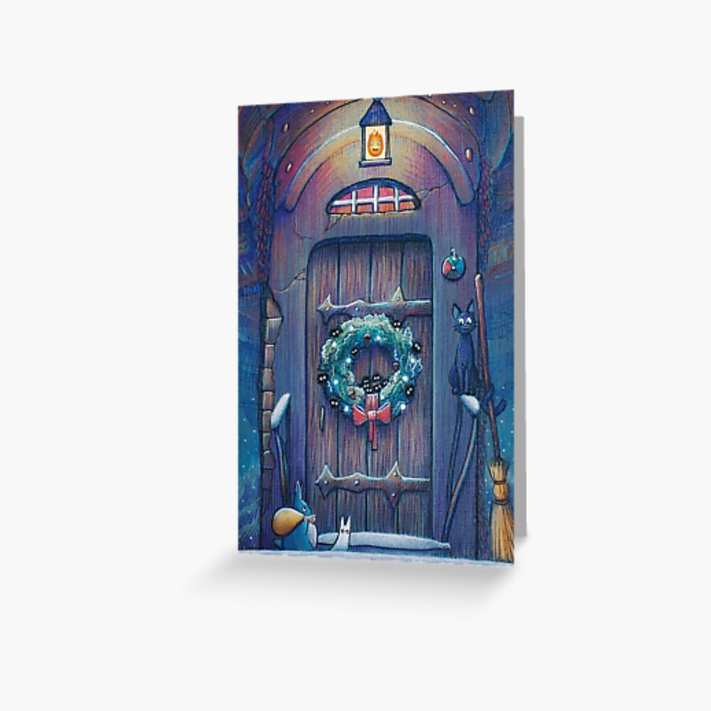 Ghibli Christmas in Howls Moving Castle Greeting Card
