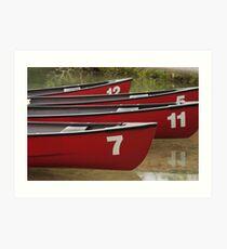 Boats on a lake, Canada Art Print