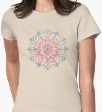 Autumn Spice Mandala in Coral, Cream and Rose Womens Fitted T-Shirt