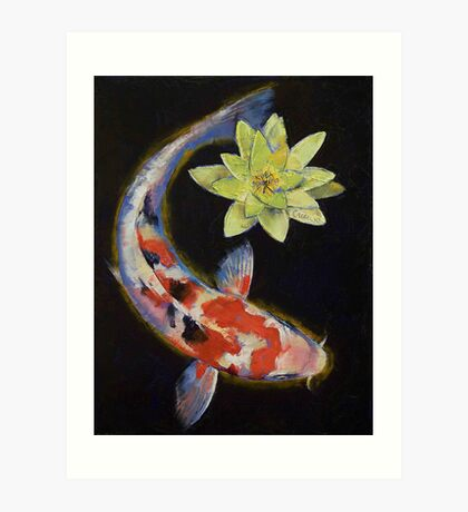 Koi with Yellow Water Lily Art Print
