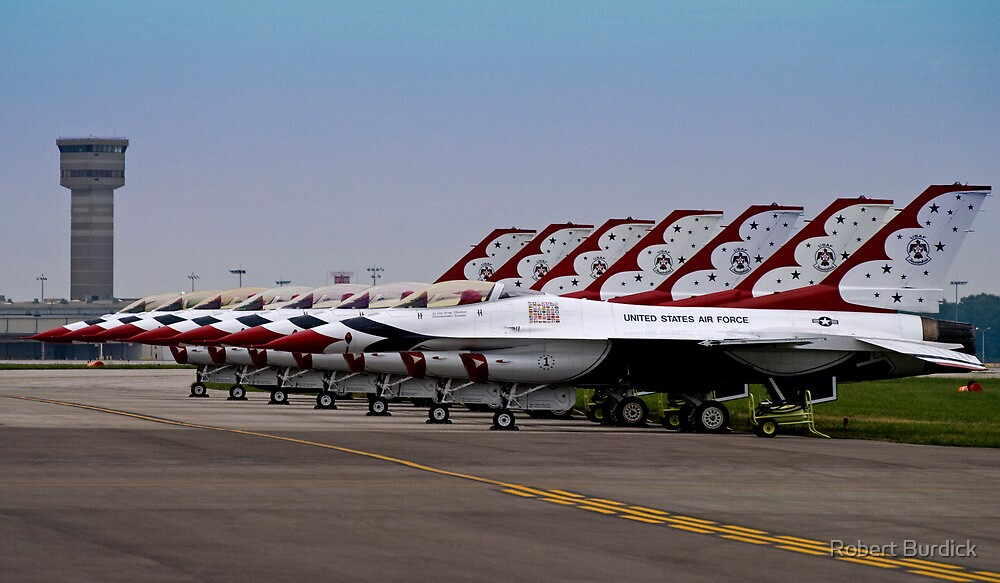 """""""F-16's All In A Row""""  by Robert Burdick"""